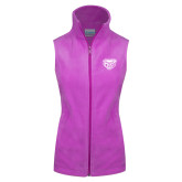 Columbia Ladies Full Zip Lilac Fleece Vest-Grizzly Head
