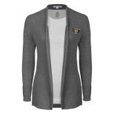 Ladies Heather Grey Open Front Cardigan-Grizzly Head