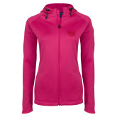 Ladies Tech Fleece Full Zip Hot Pink Hooded Jacket-Grizzly Head