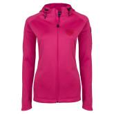 Ladies Tech Fleece Full Zip Hot Pink Hooded Jacket-Grizzly Head