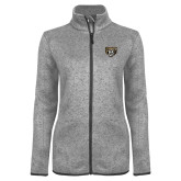 Grey Heather Ladies Fleece Jacket-Grizzly Head