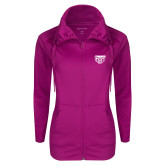 Ladies Sport Wick Stretch Full Zip Deep Berry Jacket-Grizzly Head