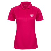 Ladies Pink Raspberry Dry Mesh Pro Polo-Grizzly Head