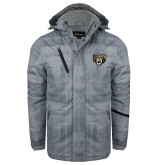 Grey Brushstroke Print Insulated Jacket-Grizzly Head
