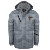 Grey Brushstroke Print Insulated Jacket-Oakland University with Grizzly Head