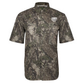 Camo Short Sleeve Performance Fishing Shirt-Grizzly Head