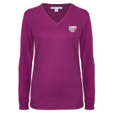 Ladies Deep Berry V Neck Sweater-Grizzly Head