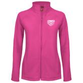 Ladies Fleece Full Zip Raspberry Jacket-Grizzly Head