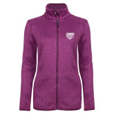 Dark Pink Heather Ladies Fleece Jacket-Grizzly Head