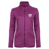 Dark Pink Heather Ladies Fleece Jacket-Grizzly Head