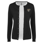 Ladies Black Cardigan-Grizzly Head