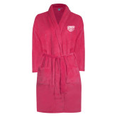 Ladies Pink Raspberry Plush Microfleece Shawl Collar Robe-Grizzly Head