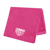 Pink Beach Towel-Grizzly Head