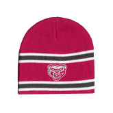 Pink/Charcoal/White Striped Knit Beanie-Grizzly Head