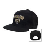Black Flat Bill Snapback Hat-Oakland University with Grizzly Head