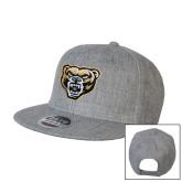 Heather Grey Wool Blend Flat Bill Snapback Hat-Grizzly Head