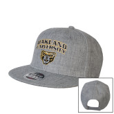 Heather Grey Wool Blend Flat Bill Snapback Hat-Oakland University with Grizzly Head