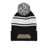 Black/White Two Tone Knit Pom Beanie with Cuff-Oakland University