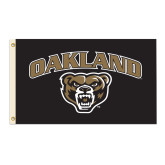 3 ft x 5 ft Flag-Arched Oakland w/ Grizzly Head
