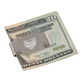 Dual Texture Stainless Steel Money Clip-Grizzly Head Engraved