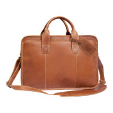 Canyon Buffalo Valley Tan Briefcase-Grizzly Head Engraved