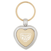 Silver/Gold Heart Key Holder-Grizzly Head Engraved