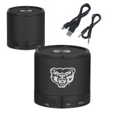 Wireless HD Bluetooth Black Round Speaker-Grizzly Head Engraved