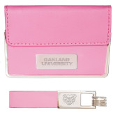 Business Card Case and Key Ring Set Pink-Oakland University Engraved