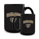 Full Color Black Mug 15oz-Oakland University with Grizzly Head