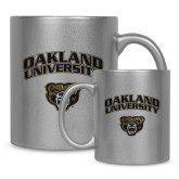 Full Color Silver Metallic Mug 11oz-Oakland University with Grizzly Head