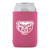 Collapsible Hot Pink Can Holder-Grizzly Head