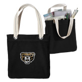 Allie Black Canvas Tote-Grizzly Head