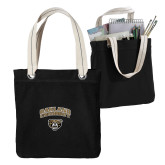 Allie Black Canvas Tote-Oakland University with Grizzly Head