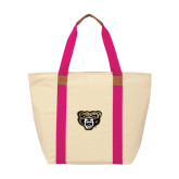 Natural/Tropical Pink Saratoga Tote-Grizzly Head