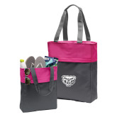 Charcoal/Tropical Pink Colorblock Tote-Grizzly Head