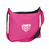 Cotton Canvas Tropical Pink/Charcoal Sling Bag-Grizzly Head