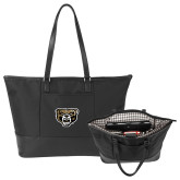 Stella Black Computer Tote-Grizzly Head