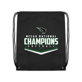 Black Drawstring Backpack-2017 NCCAA National Softball Champions