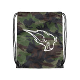 Camo Drawstring Backpack-Power Bison