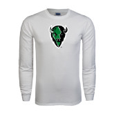 White Long Sleeve T Shirt-Charging Bison