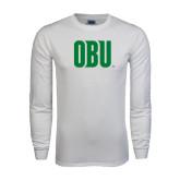 White Long Sleeve T Shirt-OBU Wordmark