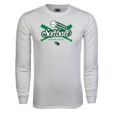 White Long Sleeve T Shirt-Softball Crossed Bats