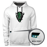 Contemporary Sofspun White Hoodie-Charging Bison
