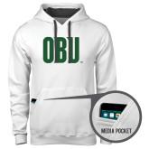 Contemporary Sofspun White Hoodie-OBU Wordmark