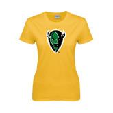 Ladies Gold T Shirt-Charging Bison