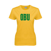 Ladies Gold T Shirt-OBU Wordmark