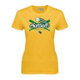 Ladies Gold T Shirt-Softball Crossed Bats