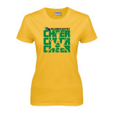 Ladies Gold T Shirt-Cheer Stacked