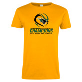 Ladies Gold T Shirt-NCCAA Mens Tennis Champions 2017