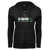 ENZA Ladies Black Fleece Full Zip Hoodie-NCCAA National Champions Mens Outdoor Track and Field